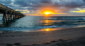 Sunrise by the Fishing Pier Stock Images