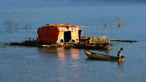 Tranquil,calm scene at evening on fishing village Royalty Free Stock Images