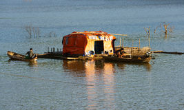 Sunrise-on-fishing-village Royalty Free Stock Images