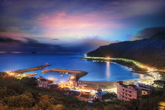Sunrise fishing village, Taiwan Stock Photo