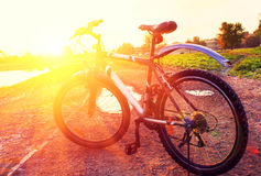 Sunrise fitness by bicycle Stock Images