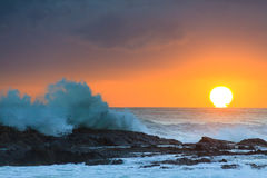 Sunrise at flat rock. (Gold Coast, Currumbin Beach, QLD, Australia Royalty Free Stock Images