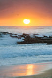 Sunrise at flat rock. (Gold Coast, Currumbin Beach, QLD, Australia Stock Images