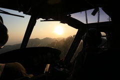 Sunrise  flight. Sunrise at horizon from cockpit view Royalty Free Stock Images