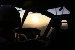 Sunrise  flight. Sunrise at horizon from cockpit view Stock Photography