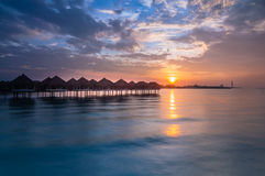 Sunrise from floating resort at bagan lalang selangor Stock Photos