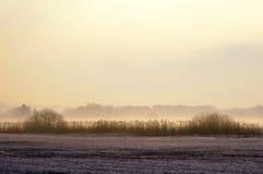 Sunrise and fog Stock Photography