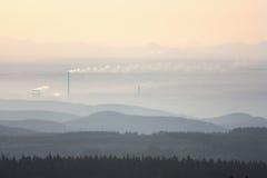 Sunrise fog Stock Image