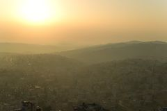 Sunrise fog in Bethlehem, Palestine, Israel Royalty Free Stock Photos