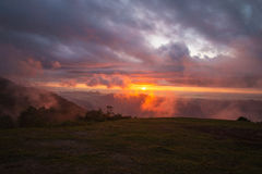 Sunrise With fog on Mountain Royalty Free Stock Photo