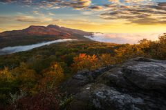 Morning light and fall colors, Blue Ridge Mountains stock image