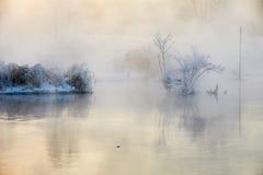 The sunrise in fog. The photo was taken in Mojie scenery spot Erdao baihe town Antu county yanbian Korean autonomous prefecture Jilin province, China Stock Images