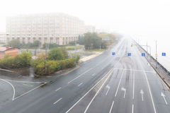 Sunrise in the foggy morning  over Moscow city. Royalty Free Stock Photos