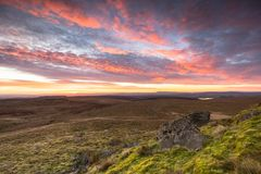 Sunrise at the Forest of Bowland, Lancashire, UK. From the highest point in the Forest of Bowland looking South towards Preston and Clitheroe Royalty Free Stock Photo