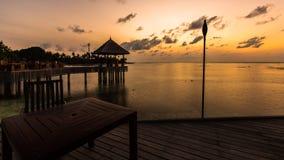 Sunrise at Four Seasons Resort Maldives at Kuda Huraa Stock Photo