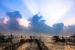 Sunrise fresh color at beach, thailand Royalty Free Stock Photo