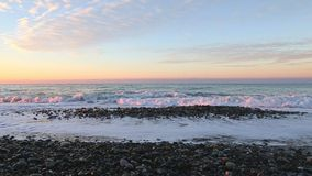 Sunrise front view sea panorama stock video footage