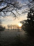 Sunrise on a frosty morning in Holland stock image