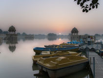 Sunrise at Gadi Sagar lake in Jaisalmer, Rajasthan, India Stock Photos