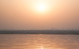 Sunrise on Ganga. Holy river of Ganga in Varanasi, Uttar Pradesh, India Stock Image