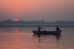 Sunrise at Ganga river, India Stock Image