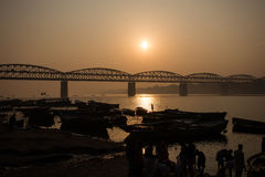 Sunrise on the Ganga river Stock Images