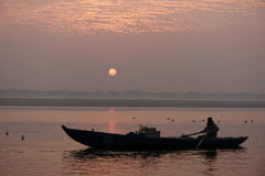 Sunrise at the Ganges River Stock Photos