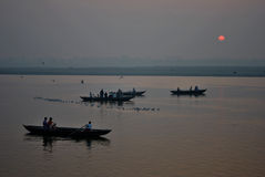 Sunrise on Ganges at Varanasi Stock Images