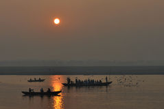 Sunrise on Ganges at Varanasi Royalty Free Stock Image