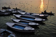 Sunrise on Ganges at Varanasi Royalty Free Stock Images