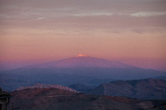 Sunrise with Gangi and the Volcano Etna Stock Image