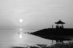 Sunrise at the gazebo Bali, Indonesia in black and white photo. Stock Photos
