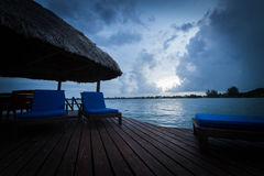Sunrise on the Gazebo. In Placencia, Belize Royalty Free Stock Photography