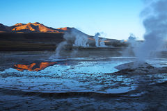 Sunrise on geyser field El Tatio, Chile Stock Photos