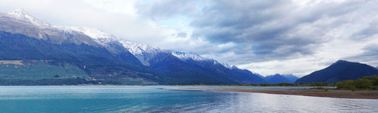 Sunrise at Glenorchy. Panoramic picture of sunrise in Glenorchy, New Zealand. 3x10 landscape format Stock Photography