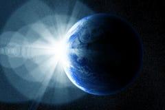 Sunrise and globe. Conceptual image of globe and sunrise. Furnished NASA image used for this image royalty free stock images
