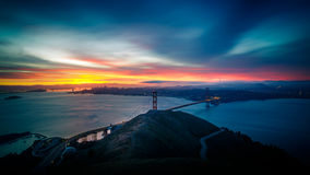 Sunrise at Golden Gate Bridge and city of San Francisco. California, USA Stock Image