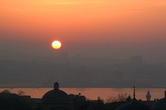 Sunrise and Golden Horn in Istanbul, Turkey Royalty Free Stock Image