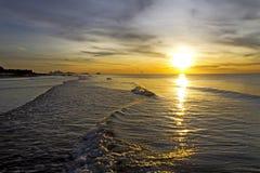 Sunrise golden on wave. At Nava Gorn beach, Prachuap Khiri Khan country Thailand Royalty Free Stock Photography