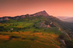 Sunrise in Gorbea with view of Arraba. Fields royalty free stock photo