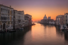Sunrise on Grand Canal in Venice Stock Images