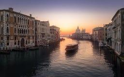 Sunrise on Grand Canal in Venice Stock Photos