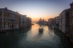 Sunrise on Grand Canal in Venice Royalty Free Stock Photos