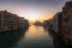 Sunrise on Grand Canal in Venice Stock Photography