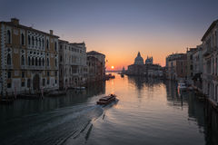Sunrise on Grand Canal in Venice Royalty Free Stock Photo