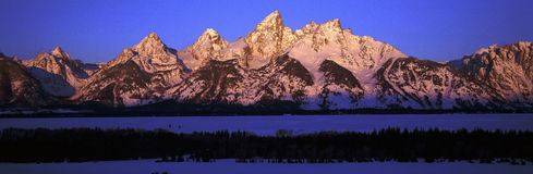 Sunrise on Grand Tetons Royalty Free Stock Photography
