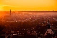 Sunrise in Graz Austria. Gold Sunrise in Graz Austria Stock Photography