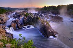 Sunrise at Great Falls royalty free stock images