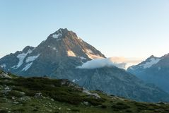 Sunrise in Caucasus mountains royalty free stock photography