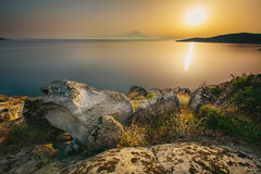 Sunrise in Greece, Halkidiki, Sykia - Europe Royalty Free Stock Photo